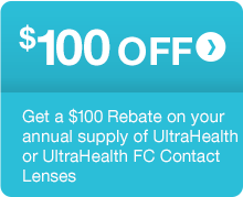 $100 OFF annual supply of UltraHealth Contact Lenses