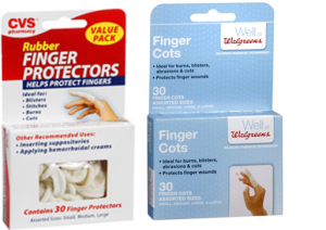 Finger protectors for removing contact lenses